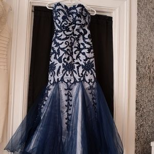 Blue patterned gown